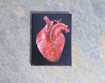 Unbreak my heart - Small Original Acrylic Painting on Canvas Anatomically correct Heart Gothic Macabre Love Realistic Ready to hang