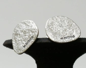 Textured Silver Cuff Links  -  Sterling Silver Hallmarked Pebble Cuff Links  -  Men's Silver Jewellery