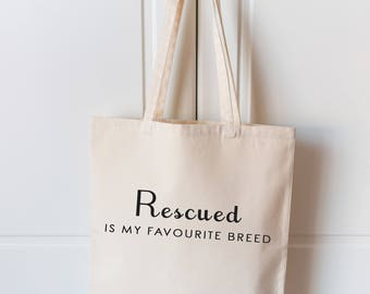 Rescued Dog Bag | Dog Lover Tote Bag | Natural Canvas Tote Bag | Dog Bag | Dog Lover Gift | Dog Shopping Bag | Tote Bag |