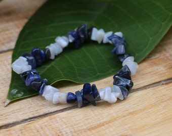 No.47 Blue Lace Agate and Sodalite Chip Bracelet