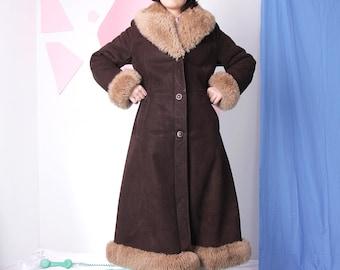 shearling afghan coat, sheepskin full length coat, hippie bohemian penny lane coat, suede leather fur coat, brown 70s vintage coat