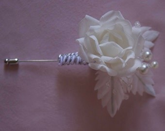 Absolutely Gorgeous Handmade Boutonniere Prom Wedding Special Occasion White Rose Pearls Beads