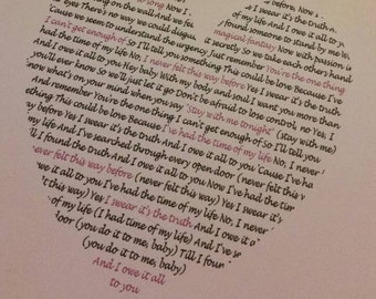 "Valentine's gift for the Dirty Dancing love of your life heart shaped ""I've had the time of my life "" lyrics digital download"