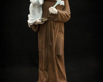 "18"" Large Antique Saint Anthony with Child Jesus Bisque Porcelain Statue Baby Figure"