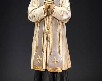 """25"""" RARE Saint John Vianney Antique Plaster Statue St Patron Parish Priests"""
