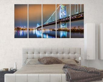 Philadelphia Ben Franklin Bridge canvas print, Large Wall Art framed, 3 pieces ready to hang, Philadelphia art office decor, s123