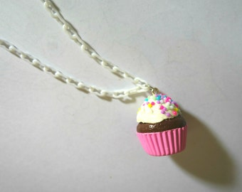 Colorful Clay Cupcake Necklace