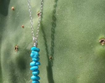 Kingman Turquoise Drop Necklace/Turquoise Pendant/