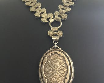 Victorian Silver Bookchain and Locket Collar Set