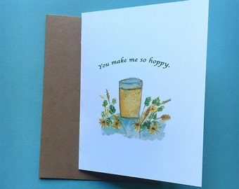 Watercolor, IPA Beer, You Make me so Hoppy, Valentine's Day Card