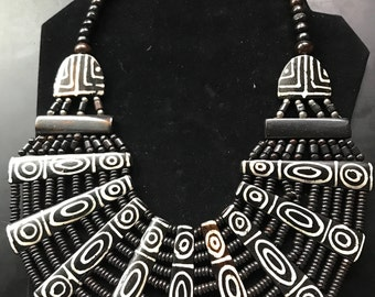 Bib Necklace/Handmade in Africa/Hand Painted Design-Jewelry-Gift/Statement Necklace/Choker-Maiden Africa