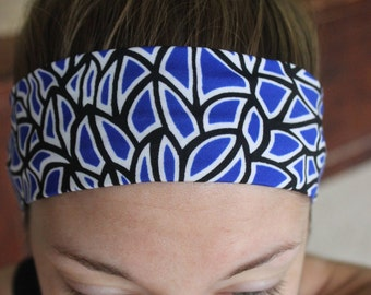 Abstract royal,black, and white non-slip head band