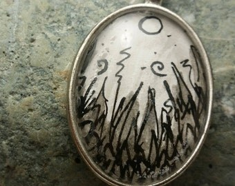 moon in the meadows hand painted pendant