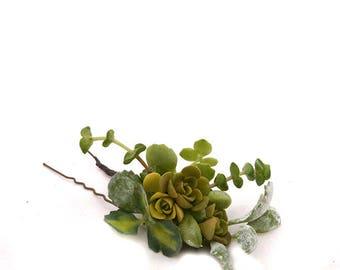 Épingle à Cheveux Adélie : coiffure de mariage, demoiselle d'honneur, baptême, soirée événementielle, bijou mini plantes grasses