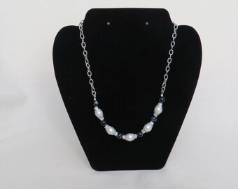 Pearl and Black Bead and Chain Necklace