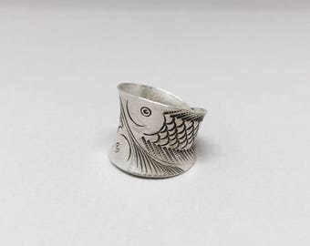 Sterling Silver Koi Fish Ring, Vintage Dual Fish Pattern Ring, Hand Stamped Ring, Fish Ring,