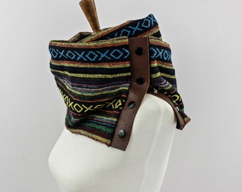 Southwest Leather Snap Infinity Scarf, Multi-colored Aztec Infinity Scarf, Unique Handmade Gift