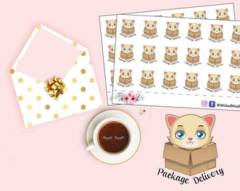 Happy Mail Planner Sticker, Mail Delivery Sticker, Cute Cat Planner Stickers, Cute Sticker, Planner Accessories