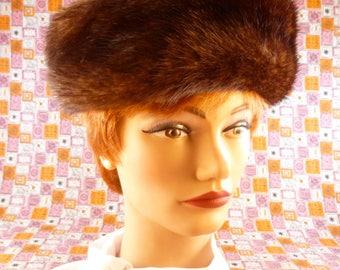 Vintage women's hat - mink and satin pillbox - Hats by Eddi