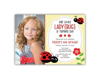 Lady Bug Birthday Invitation | Little Lady | Cute | Polka Dot | Printed Invitations