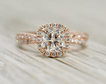 Cushion Brilliant in an Interwoven Dual Diamond Strand French Pavé Halo Engagement Ring in Rose