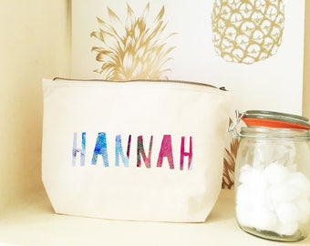 watercolour personalised cosmetic bag - gifts - personalized gifts - bridal shower ideas - bridal party gifts - birthday gifts - bridesmaid