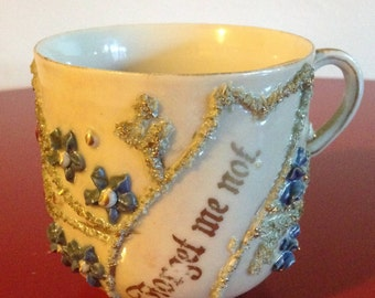 Rare Antique Forgot Me Not Moustache Mug with Gold and Purple Enhanced Accents 1900-1937