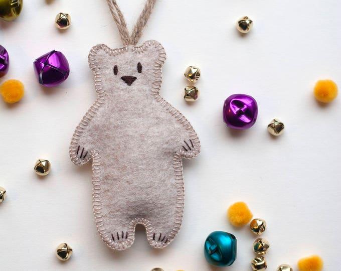 Polar Bear Christmas Ornament - Tan