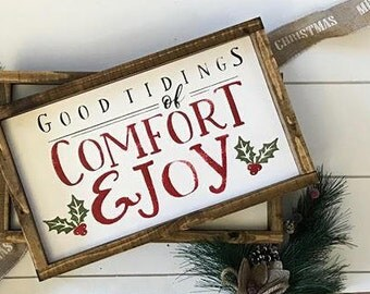 Good Tidings of Comfort and Joy Wood Sign / Christmas Wood Sign/ Framed Wood Sign