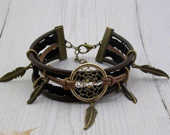 """Bracelet brown leather Dream catcher collection """"Camp Apache Wanted"""""""
