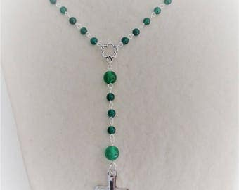 Silver-plated non tarnish and green agate Rosary