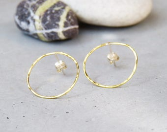 Earrings * Zoe * patterns hammered brass circles