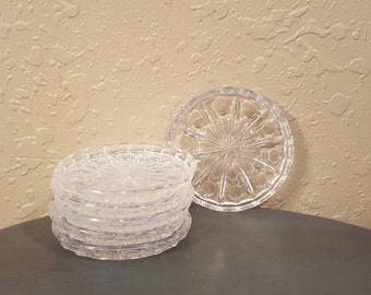 Vintage glass coaster set.  Set of 6, pressed glass, sunburst