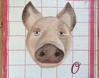 Pink pig on collage effect cloth oil painting and collage