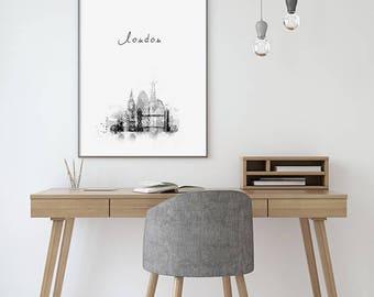 London Art Print Skyline Cityscape Silhouette Black White Watercolor Modern City Simple Printable Poster Printable England UK Downloadable