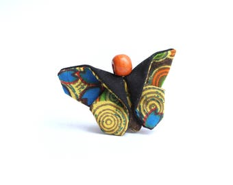 Eco-designed fabric brown/orange Butterfly brooch