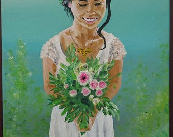 Tahitian bridal bouquet flowers on green background