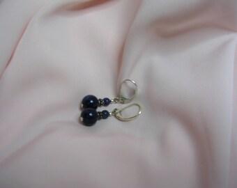 Pierced silver Lapis lazuli stone earrings