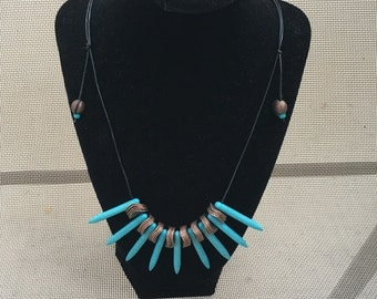 Copper and Turquoise Spike Necklace