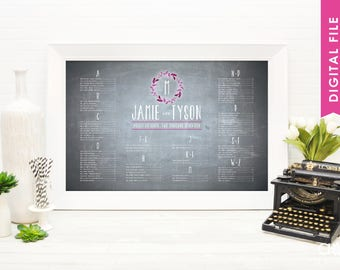 THE JAMIE + TYSON Seating Chart  -  watercolor floral wreath wedding seating chart - chalkboard background seating chart - digital file