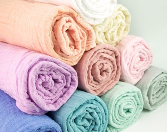 "New colors added! Muslin Baby Swaddle Blankets in solid colors - made from 100% cotton double gauze fabric - approximately 45"" square"