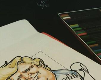 Custom color caricature based on photo