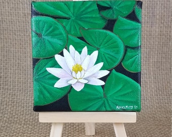 MINI LILY PAD Painting w/ easel Acrylic painting Lily Decor Nature Painting, Nature Canvas Beautiful Painting Summer Art Summer Decor Rustic