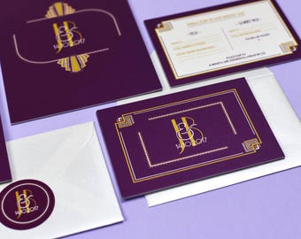 Palace Art Deco Purple & Gold RSVP