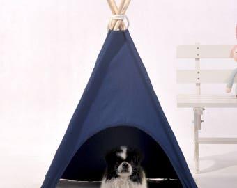 Navy dog teepee,pet teepee,dog tent