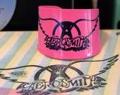 Aerosmith Record Bracelet Cuff, Recycled Records, Upcycled Records, Aerosmith Jewelry, Vinyl Bracelet, Broken Record Designs, Rock Music,80s