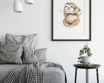 Sloth Gift, sloth print, Watercolor Print, Sloth Print Art, Sloth Painting, Nursery Decor, DIGITAL PRINT, Instant Download, Printable Sloth