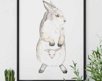 Australia Animal Art, Wallaby print, Mommyand Me, Gift for Mom, Gift for Dad, Baby Shower Gifts, New Mom Gift,  Instant Download, Babies