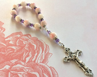 Semi Precious Stone Quartzite & Amethyst Rosary Tenner. Wire Strung 1 Decade Divine Mercy Chaplet, Small Pocket Travel Rosary Catholic Gifts
