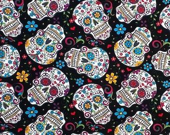 Folkloric Skulls,Sugar Skull Fabric, The Day of The Dead Fabric,Cotton Skull Fabric by the Yard-FSB